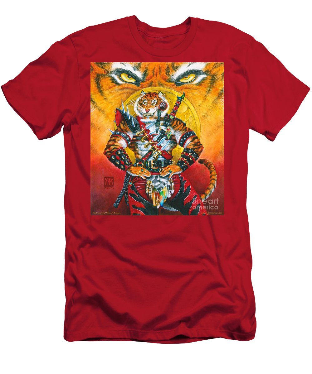 Fantasy T-Shirt featuring the painting Werecat Warrior by Melissa A Benson