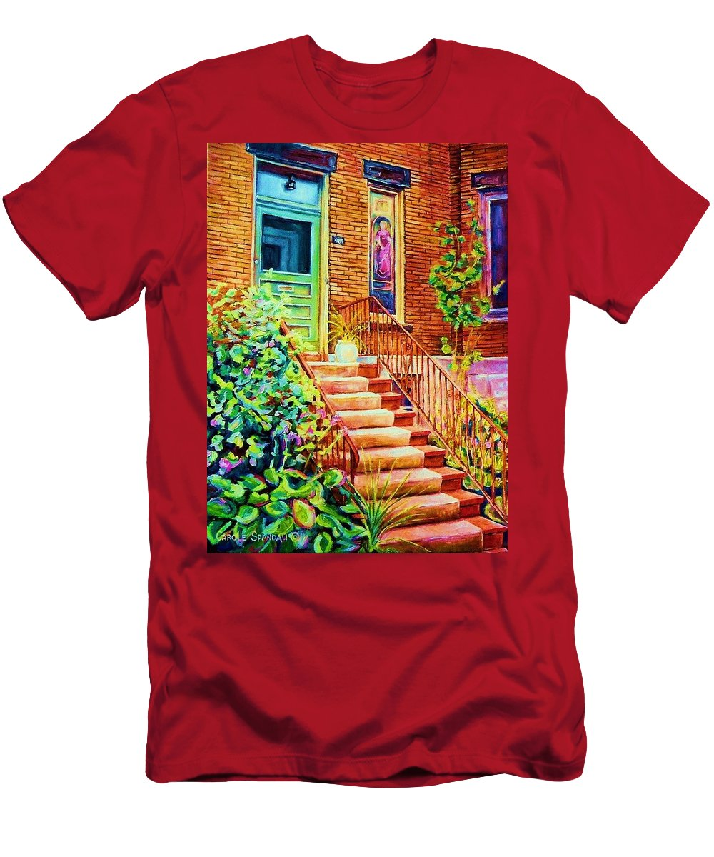 Westmount Home Men's T-Shirt (Athletic Fit) featuring the painting Westmount Home by Carole Spandau