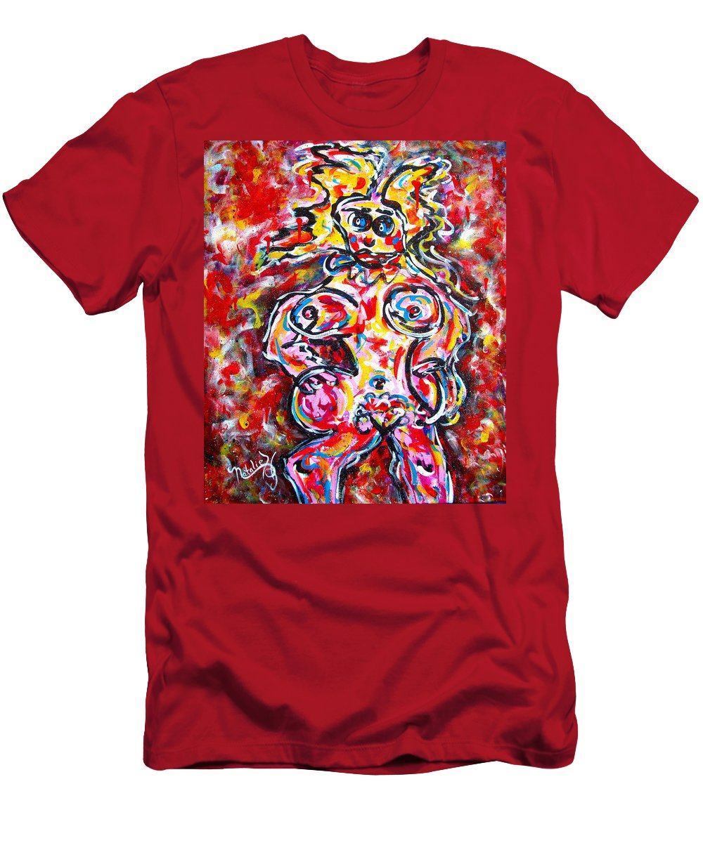 Abstracts Men's T-Shirt (Athletic Fit) featuring the painting What Are You Looking At by Natalie Holland