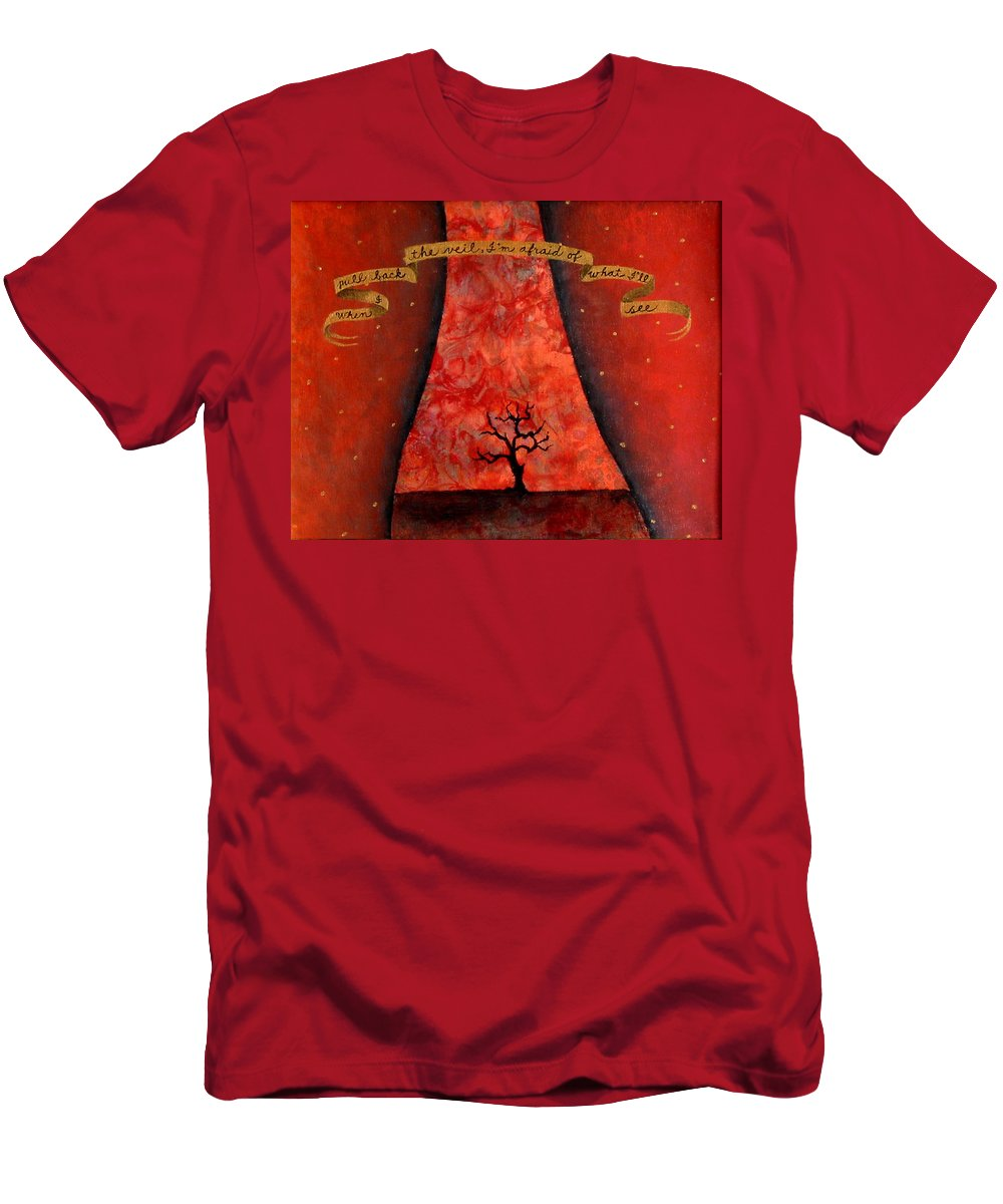 Landscape Men's T-Shirt (Athletic Fit) featuring the painting When I Pull Back The Veil by Pauline Lim