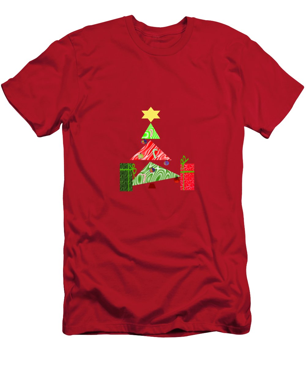 Christmas Art Men's T-Shirt (Athletic Fit) featuring the mixed media Whimsical Christmas Tree by Kathleen Sartoris