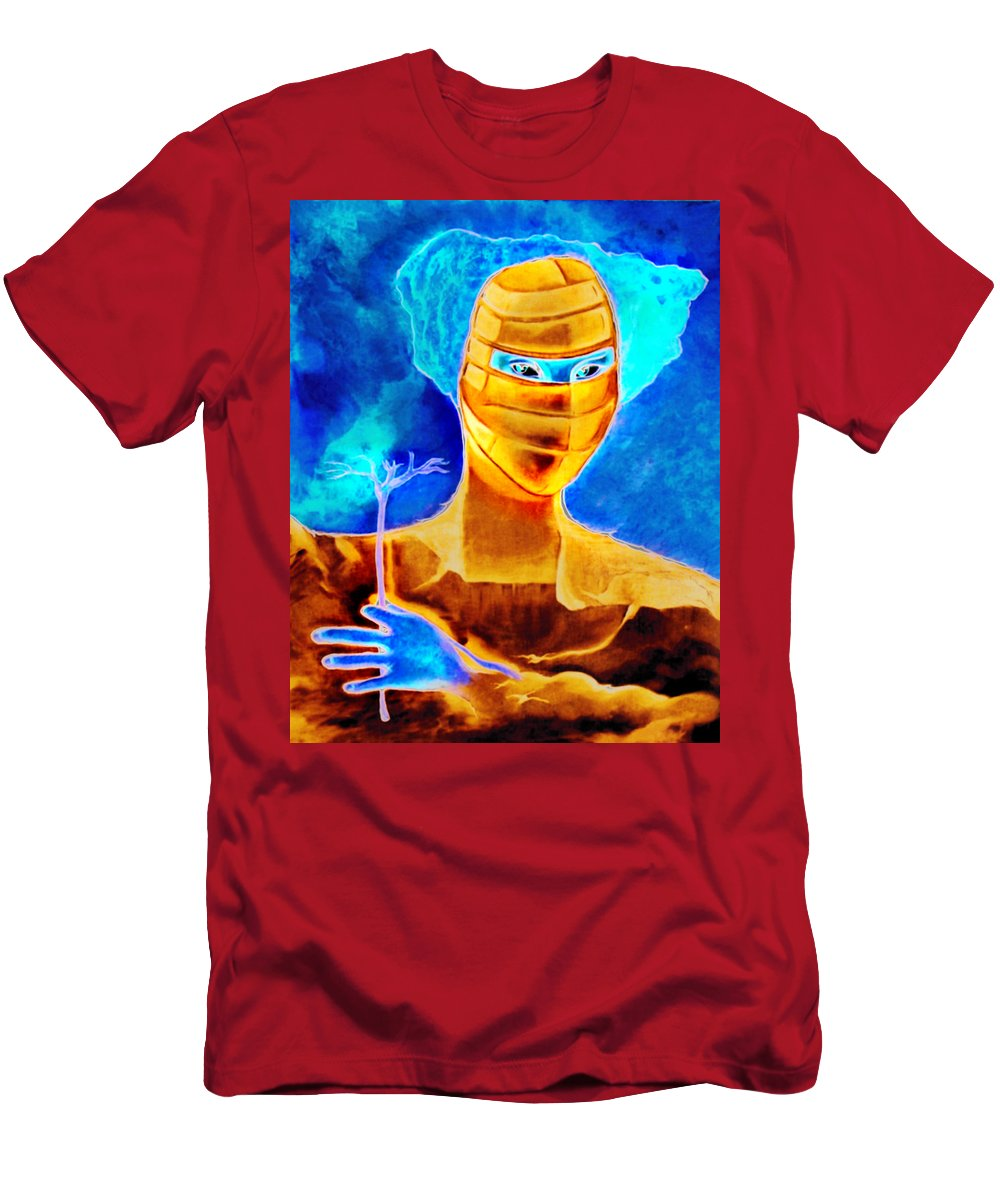 Blue Woman Mask Mistery Eyes Men's T-Shirt (Athletic Fit) featuring the painting Woman In The Blue Mask by Veronica Jackson