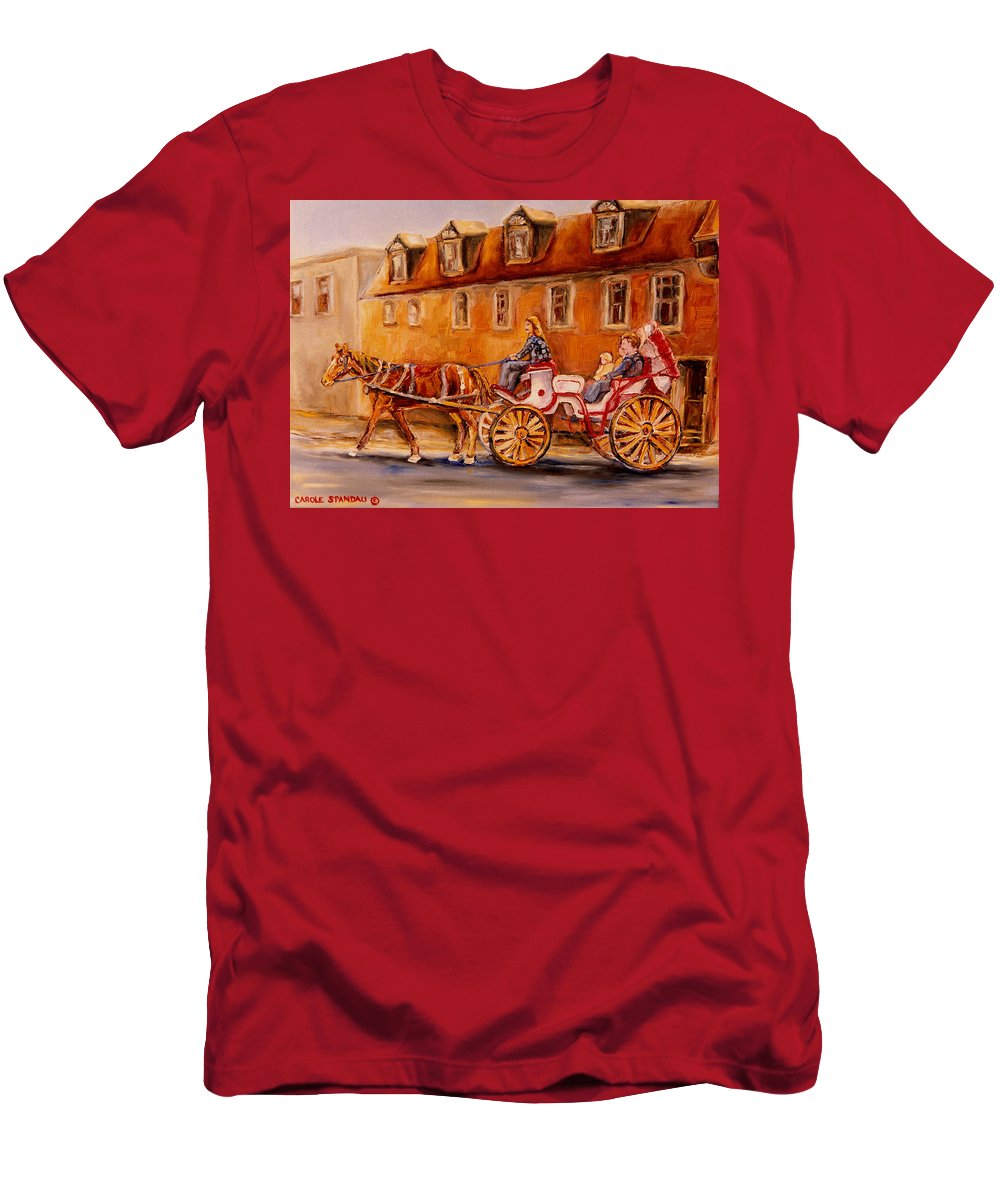 Quebec City Men's T-Shirt (Athletic Fit) featuring the painting Wonderful Carriage Ride by Carole Spandau