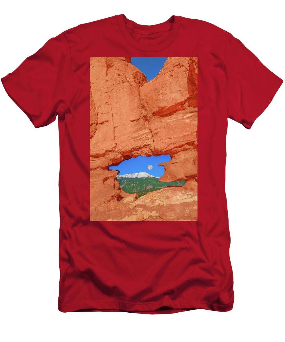 The Siamese Twins Rock Formation Men's T-Shirt (Athletic Fit) featuring the photograph World-famous Pikes Peak Framed By What We Call The Keyhole by Bijan Pirnia