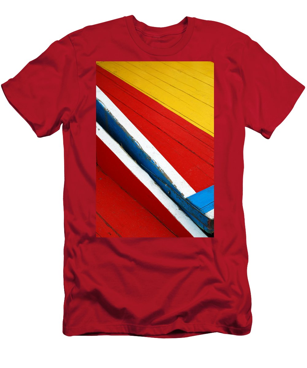 Red Men's T-Shirt (Athletic Fit) featuring the photograph Xochimilco Boat Abstract 1 by Skip Hunt
