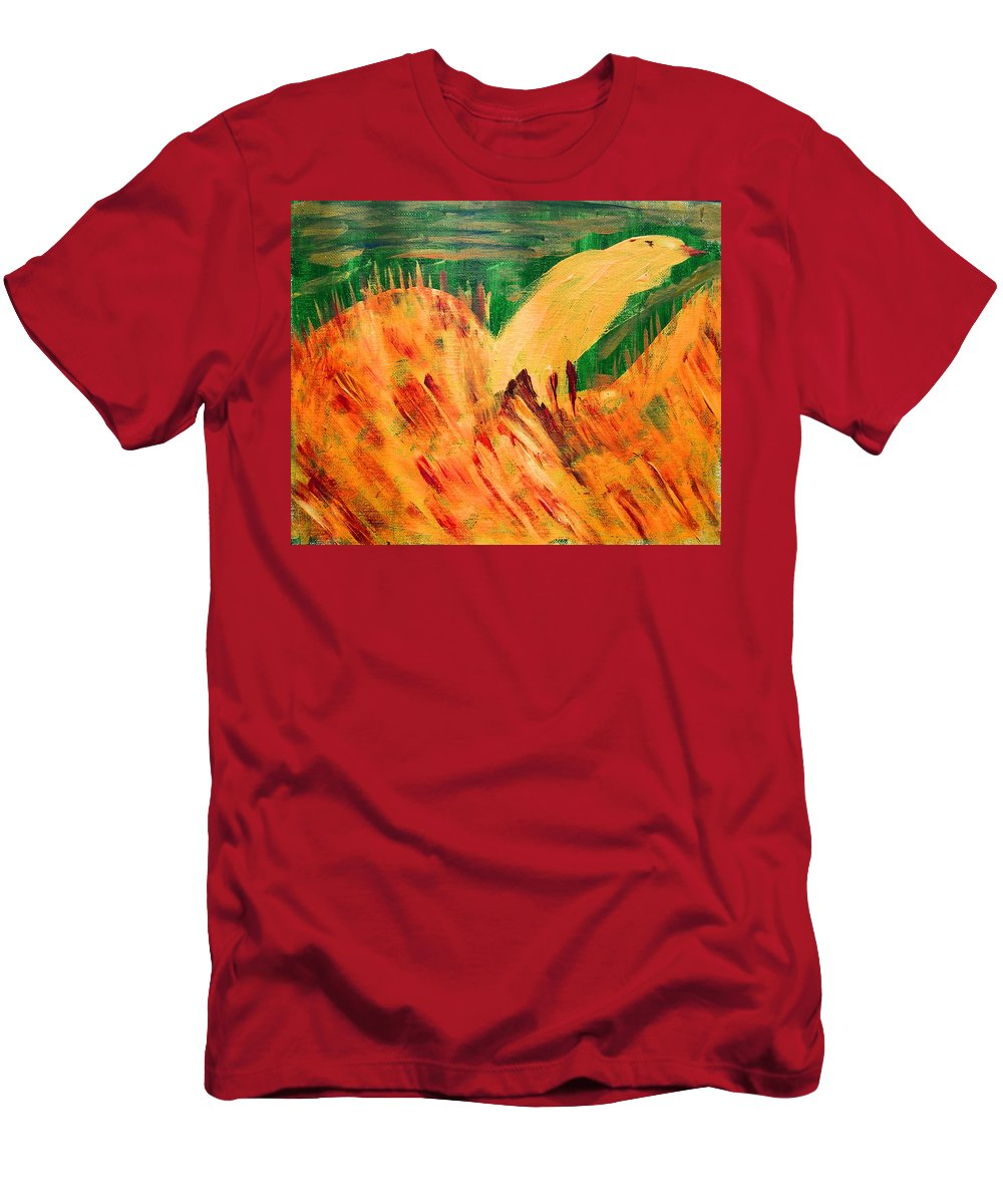 Abstract Men's T-Shirt (Athletic Fit) featuring the painting Yellow Bird by Lenore Senior