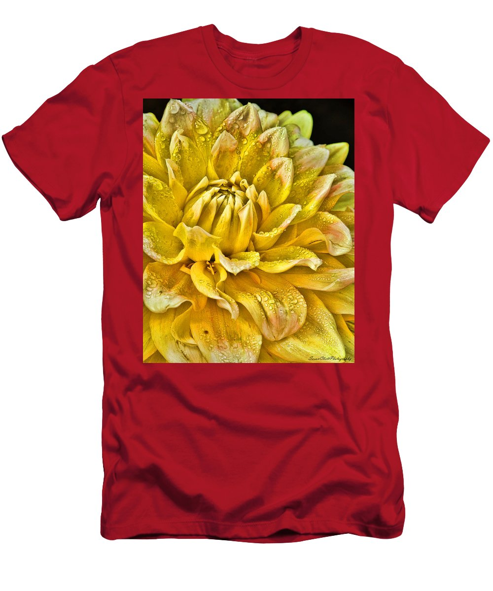 Nature Men's T-Shirt (Athletic Fit) featuring the photograph Yellow Dahlia by Susan Cliett