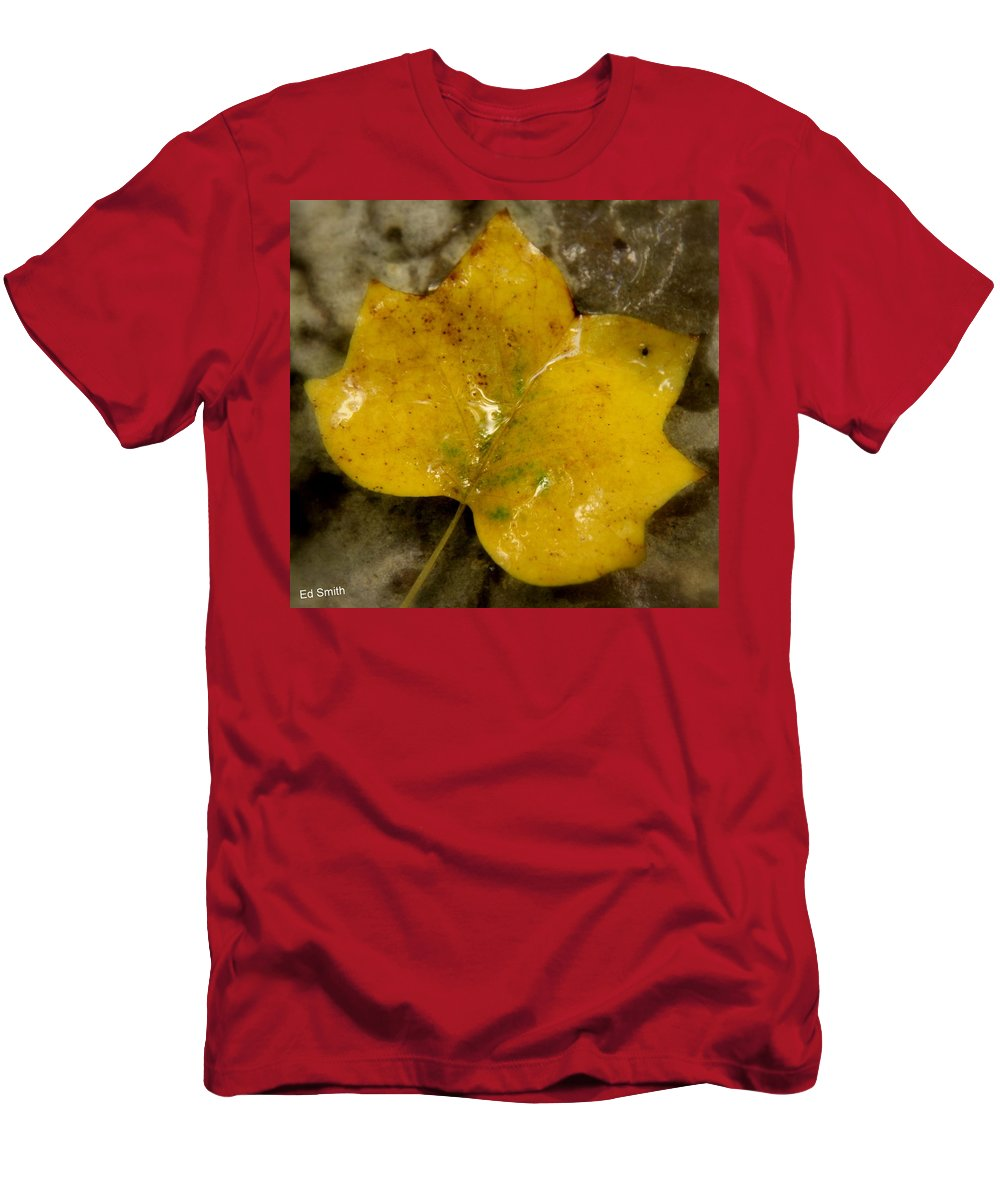 Yellow Ice Men's T-Shirt (Athletic Fit) featuring the photograph Yellow Ice by Ed Smith