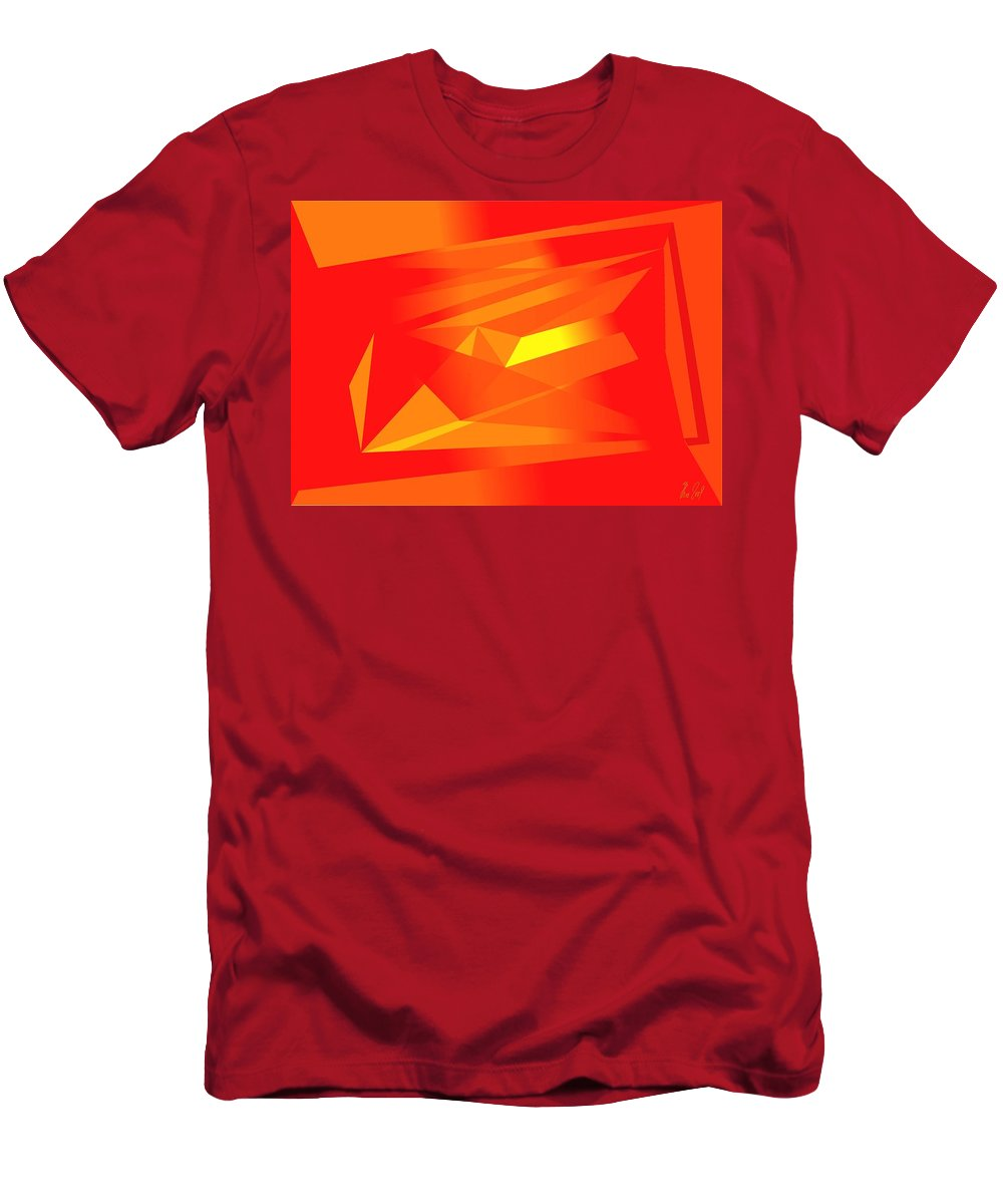Red Men's T-Shirt (Athletic Fit) featuring the digital art Yellow In Red by Helmut Rottler
