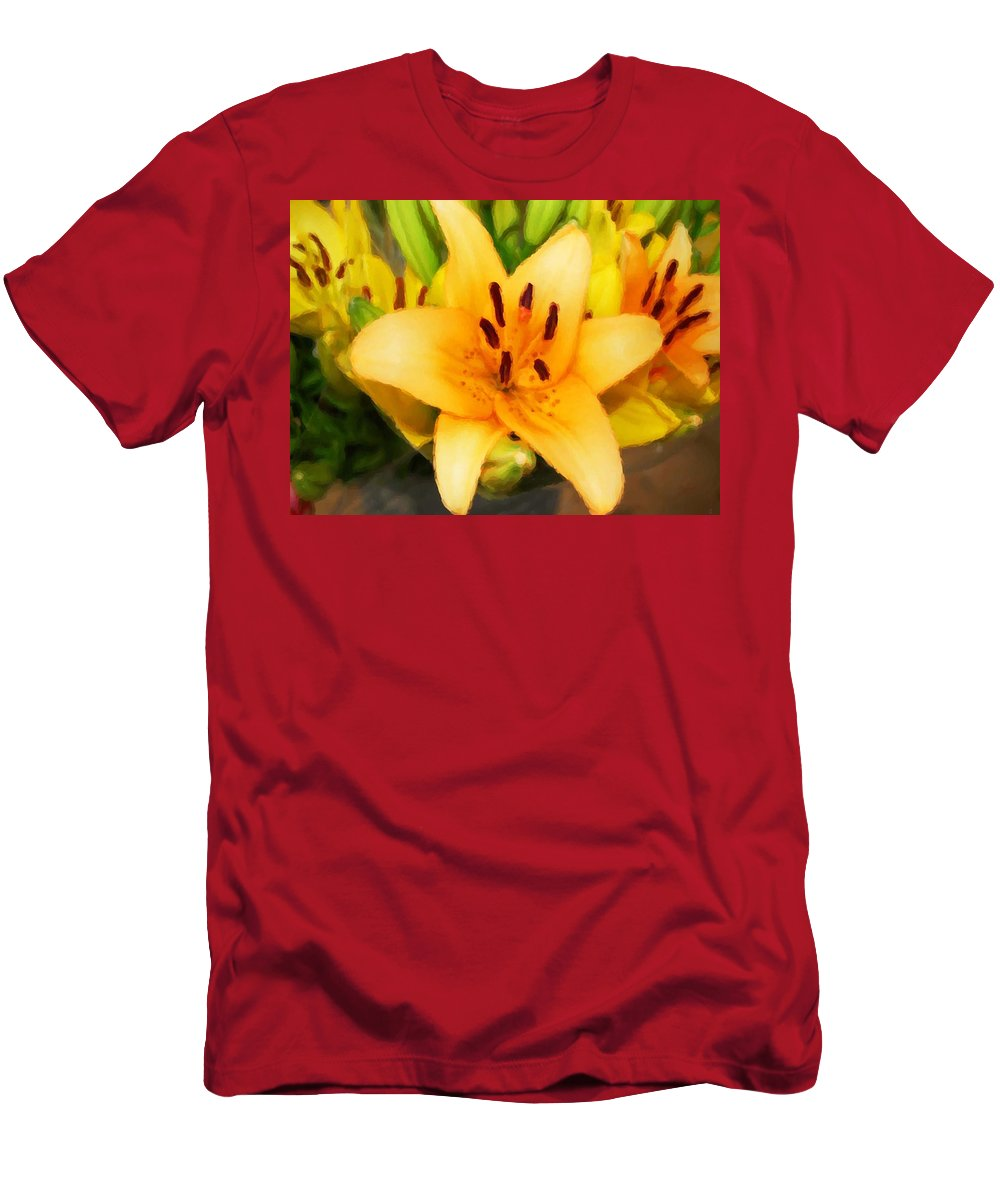 Sunflowers Men's T-Shirt (Athletic Fit) featuring the painting Yellow Lily by Michael Thomas