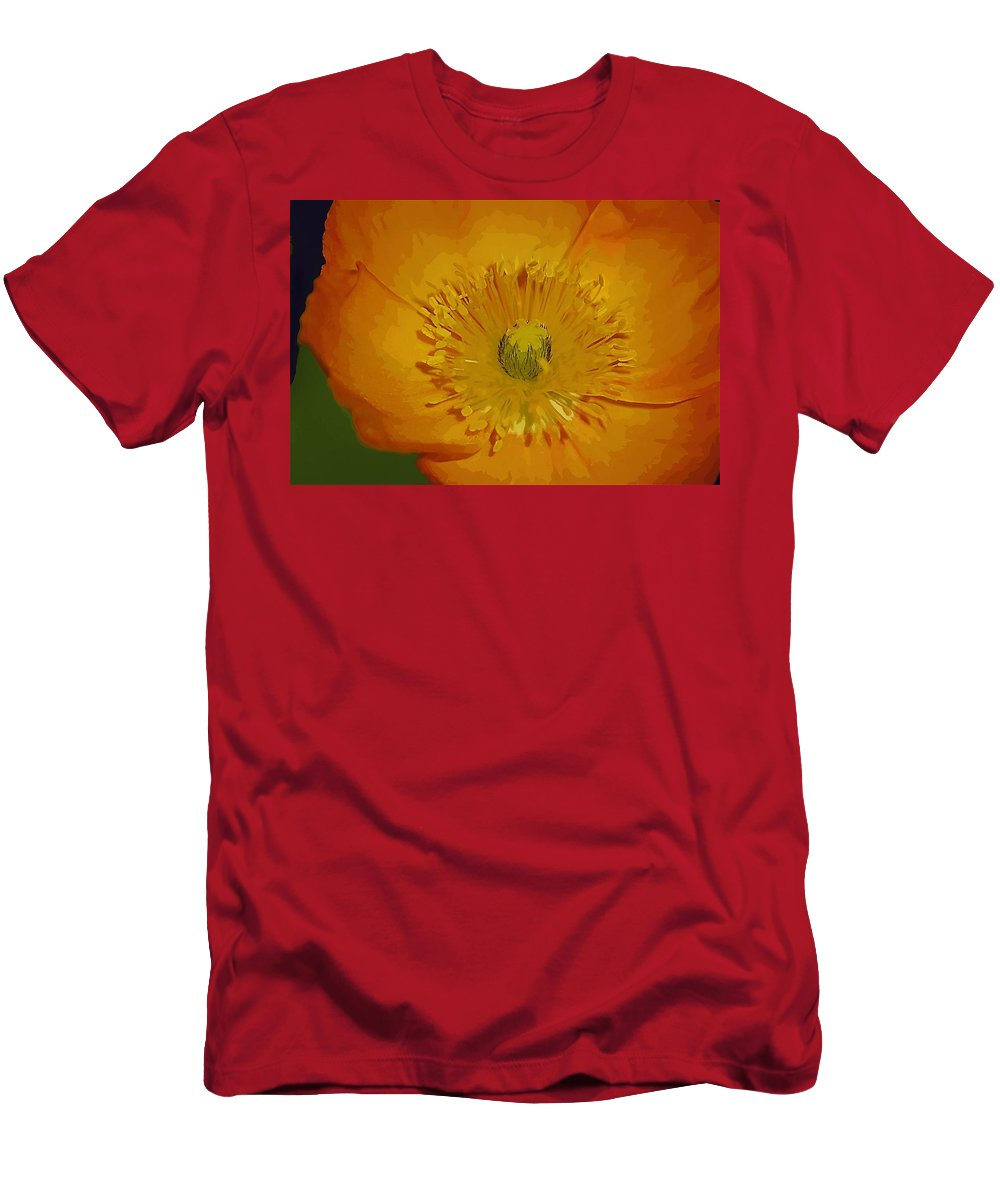 Poppy Men's T-Shirt (Athletic Fit) featuring the photograph Yellow Poppy by Donna Bentley