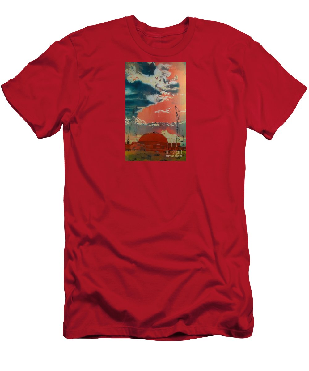 Orange Men's T-Shirt (Athletic Fit) featuring the painting Yin And Yang by Elizabeth Carr