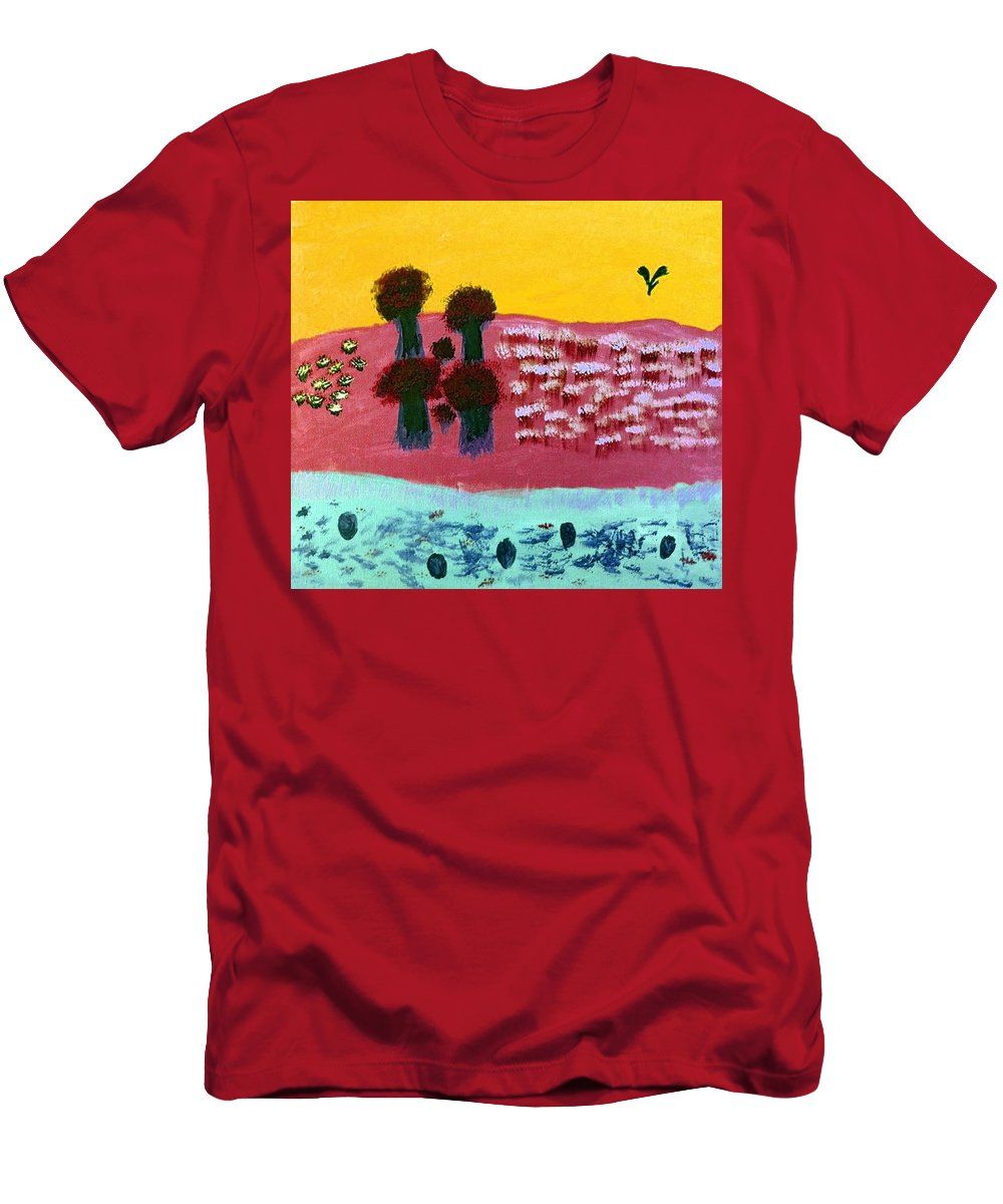 Land Men's T-Shirt (Athletic Fit) featuring the digital art You River by Lorraine Donfor-Chen