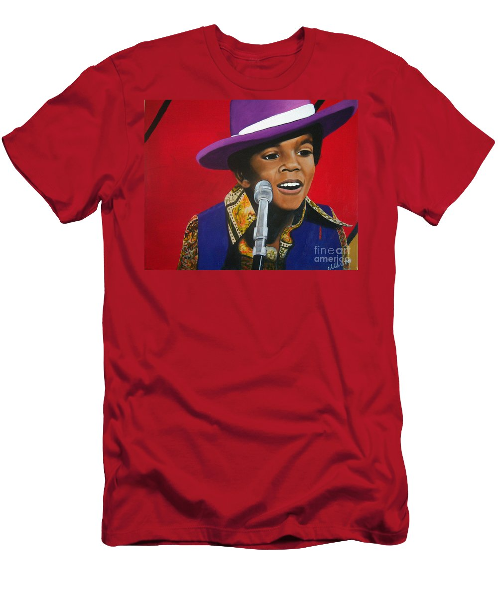 Prodigy Men's T-Shirt (Athletic Fit) featuring the painting Young Michael Jackson Singing by Chelle Brantley