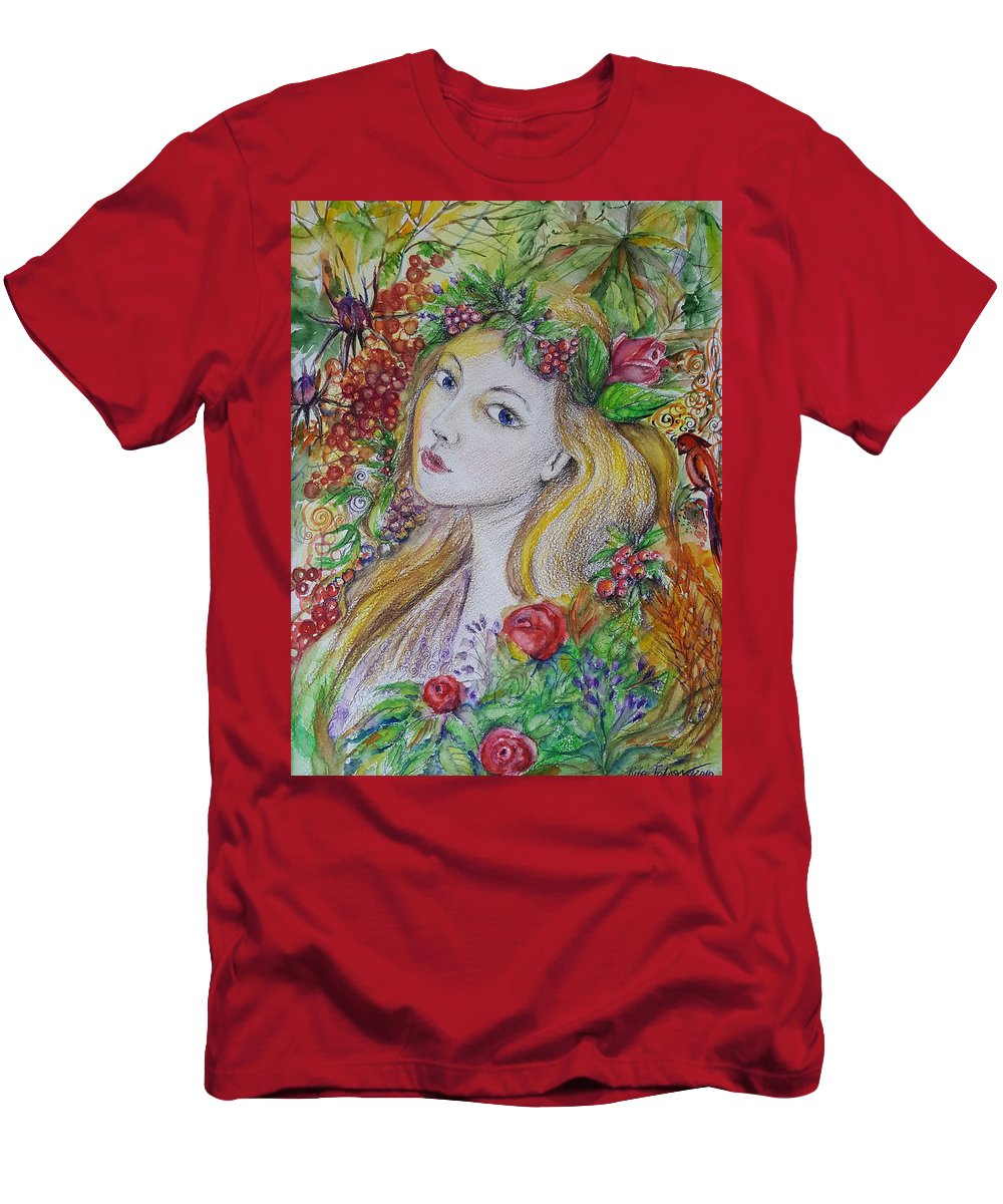 Girl Men's T-Shirt (Athletic Fit) featuring the painting Young Summer by Rita Fetisov