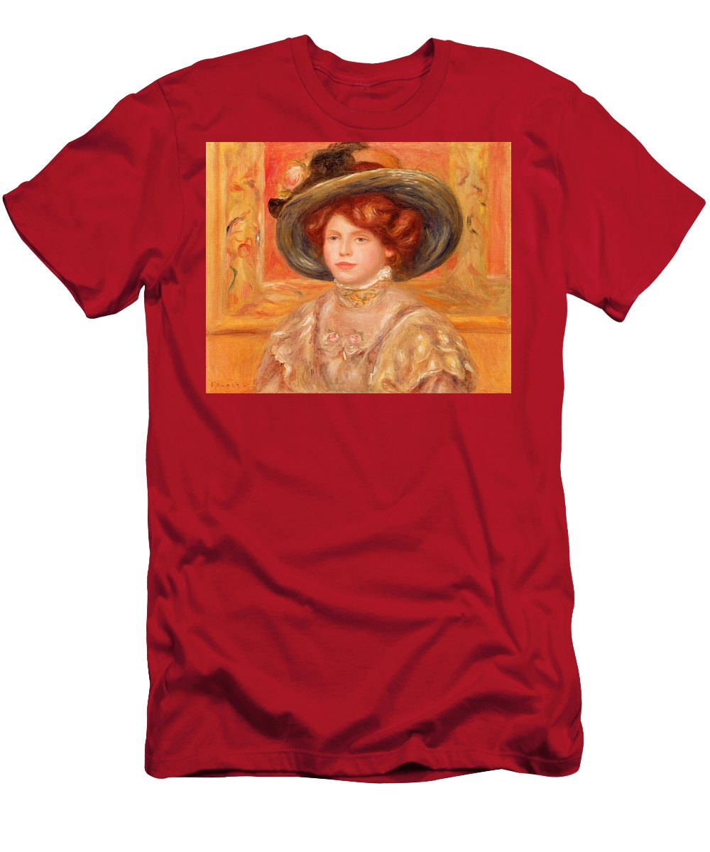 Young Men's T-Shirt (Athletic Fit) featuring the painting Young Woman In A Blue Hat by Pierre Auguste Renoir