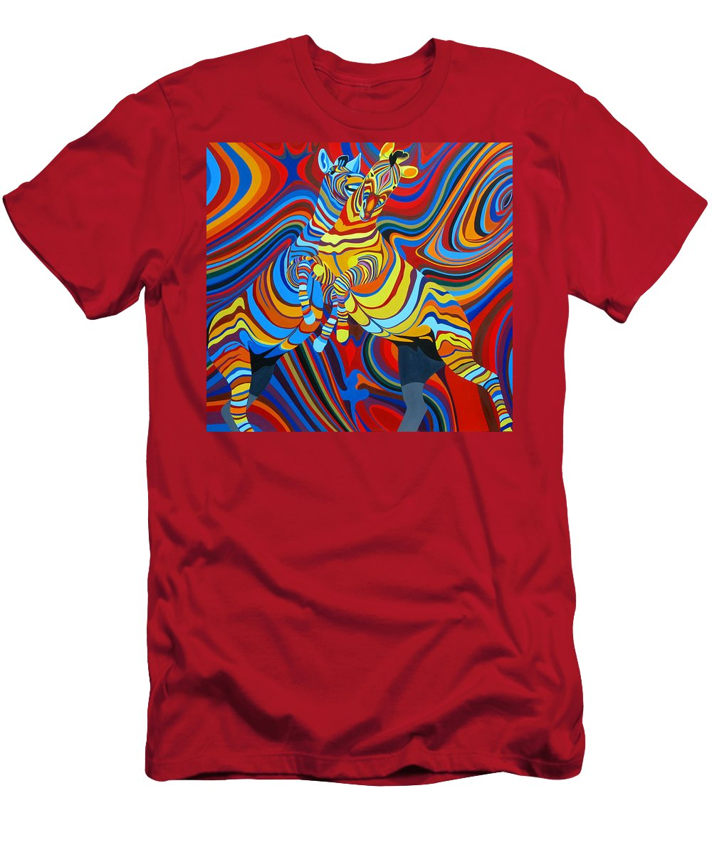 Zebra Men's T-Shirt (Athletic Fit) featuring the painting Zebradelic by Pascal Etienne Roy