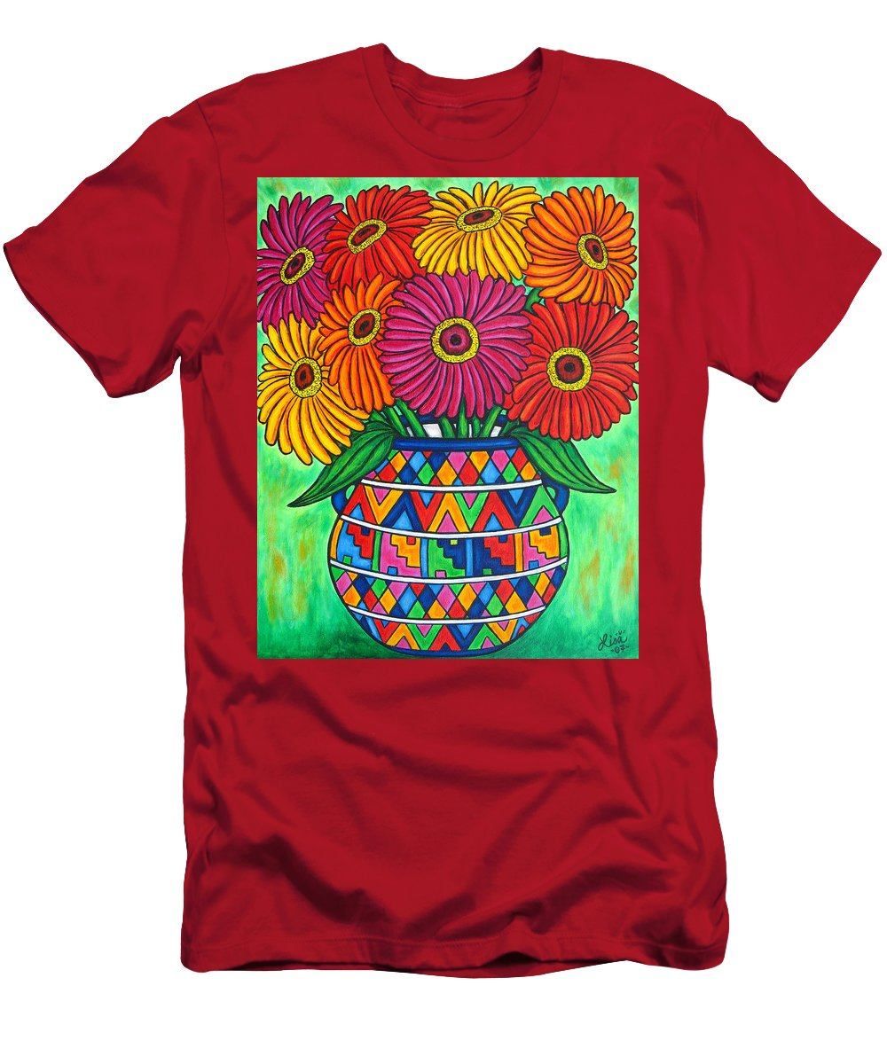 Zinnia Men's T-Shirt (Athletic Fit) featuring the painting Zinnia Fiesta by Lisa Lorenz