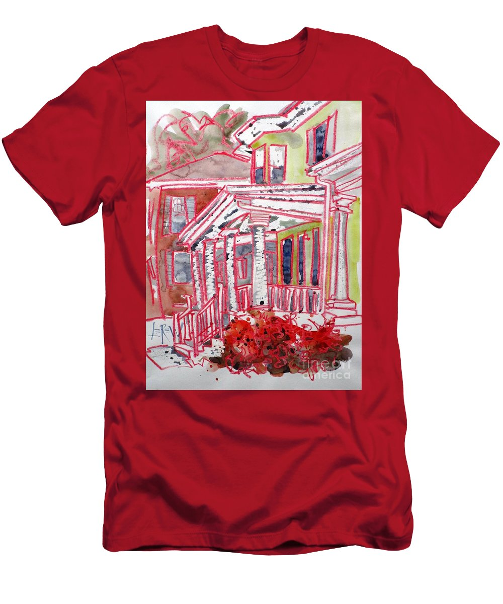 Men's T-Shirt (Athletic Fit) featuring the painting 2208 Market Street 3 by Larry Lerew