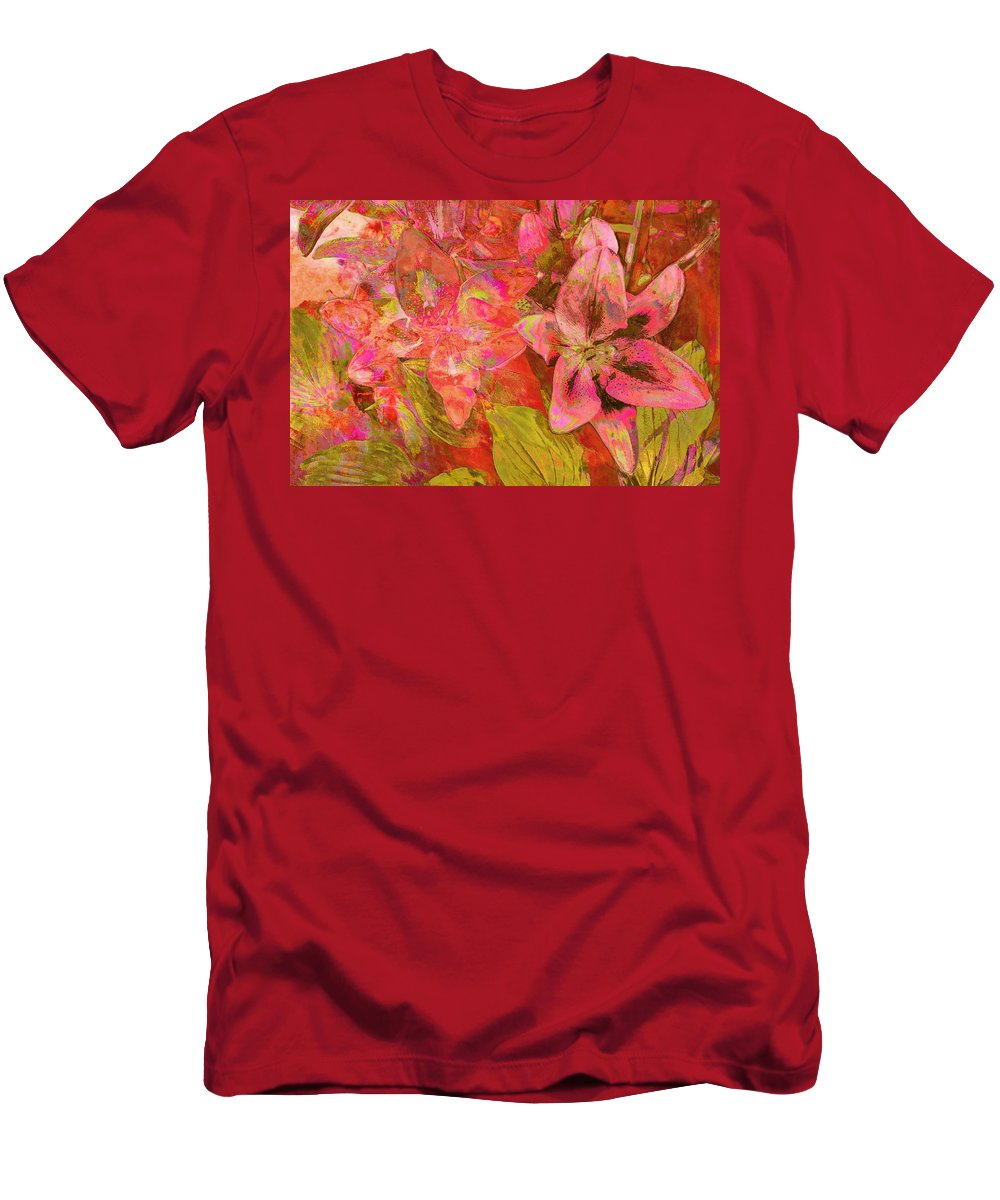 Abstract Pink Lilies Men's T-Shirt (Athletic Fit) featuring the photograph Abstract Pink Lilies by Suzanne Powers