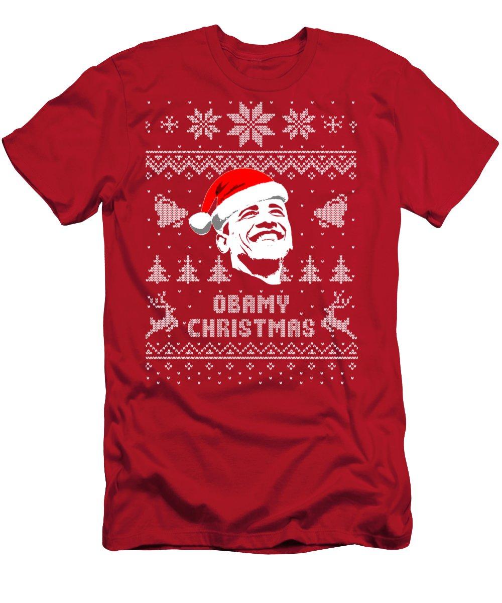Santa T-Shirt featuring the digital art Barack Obama Obamy Christmas by Filip Hellman
