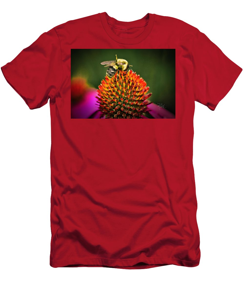 Bee T-Shirt featuring the photograph Bee On Red Cone Flower by Meta Gatschenberger