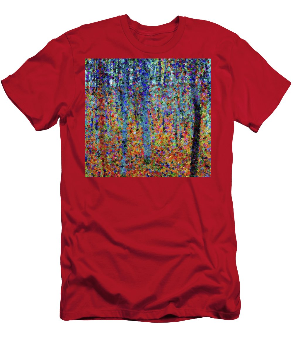 Beech Grove Abstract Expressionism Men's T-Shirt (Athletic Fit) featuring the mixed media Beech Grove Abstract Expressionism by Georgiana Romanovna