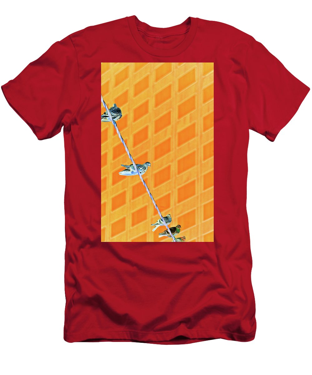 Inverted Colors Men's T-Shirt (Athletic Fit) featuring the photograph Birds In A Row by Raven Deem