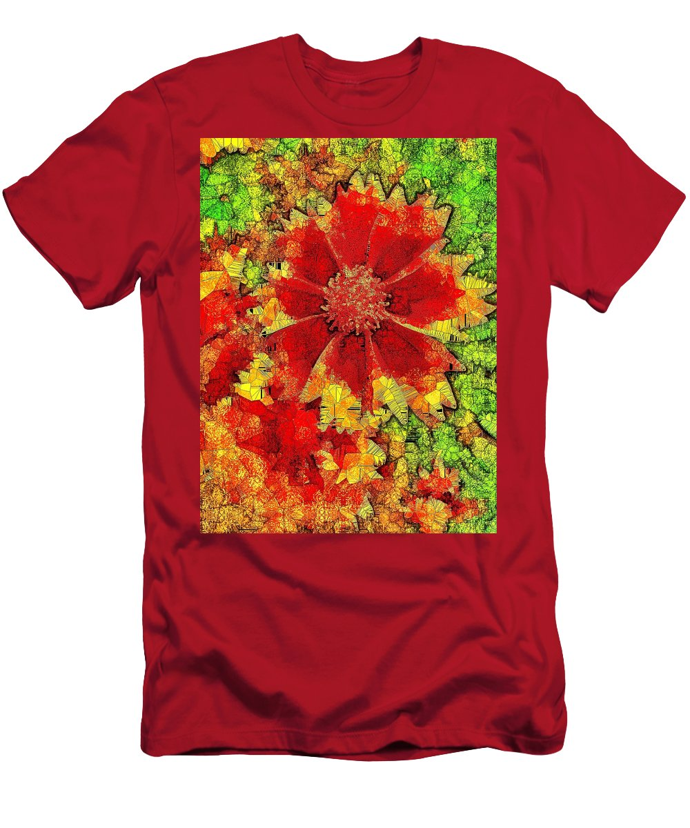 Men's T-Shirt (Athletic Fit) featuring the digital art Coreopsis Abstract by Mo Barton