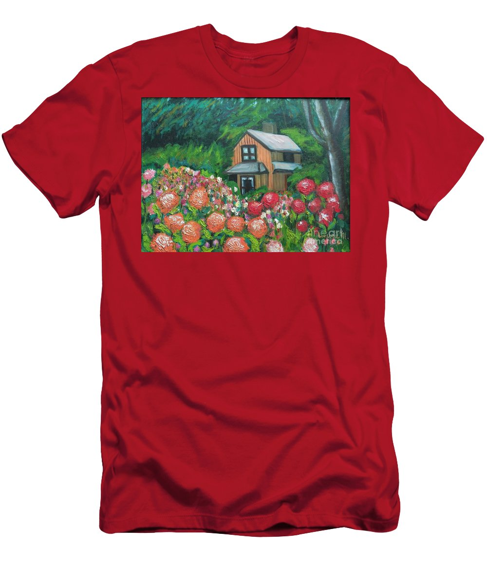 Dahlias T-Shirt featuring the painting Dahlias in the Woods by Laurie Morgan