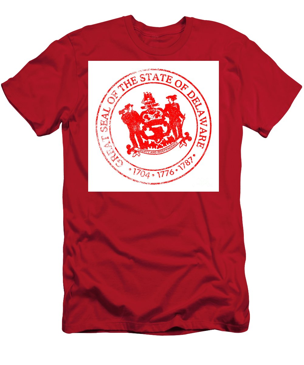 Delaware Men's T-Shirt (Athletic Fit) featuring the digital art Delaware Seal Stamp by Bigalbaloo Stock