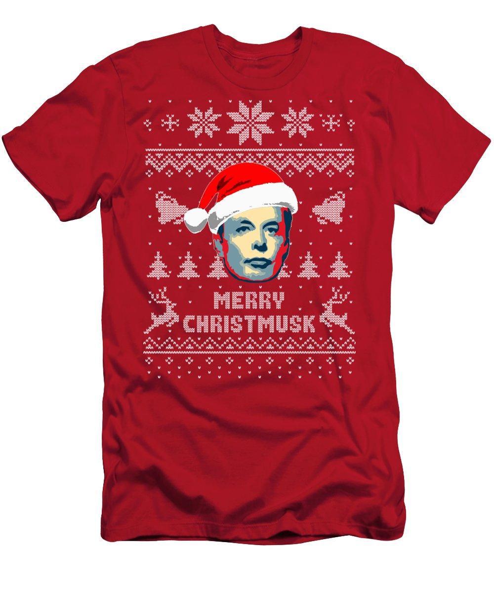 Christmas T-Shirt featuring the digital art Elon Musk Merry Christmusk by Filip Schpindel