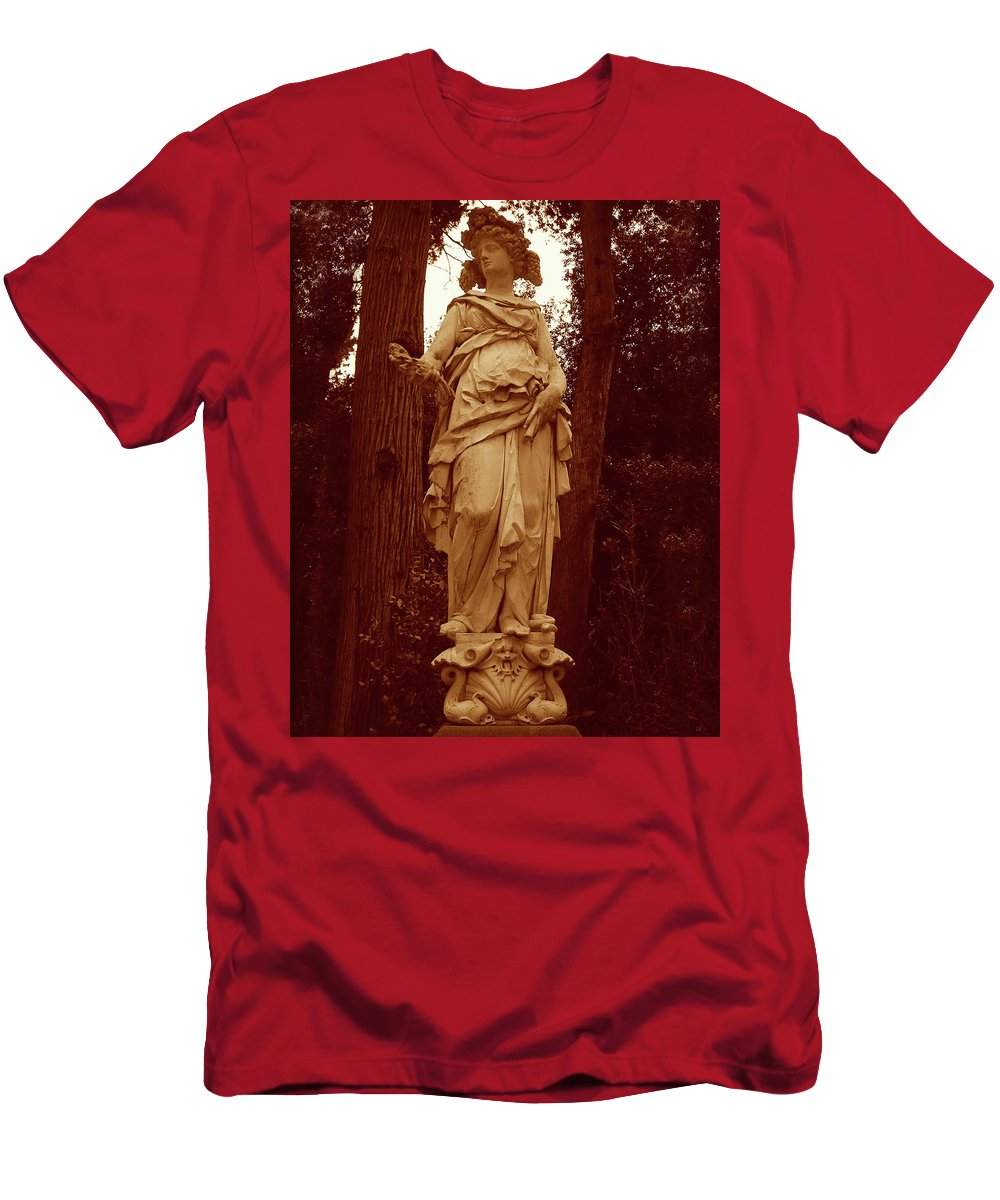 Woman Statue Men's T-Shirt (Athletic Fit) featuring the photograph Goddess Statue by Tiffany Travalent