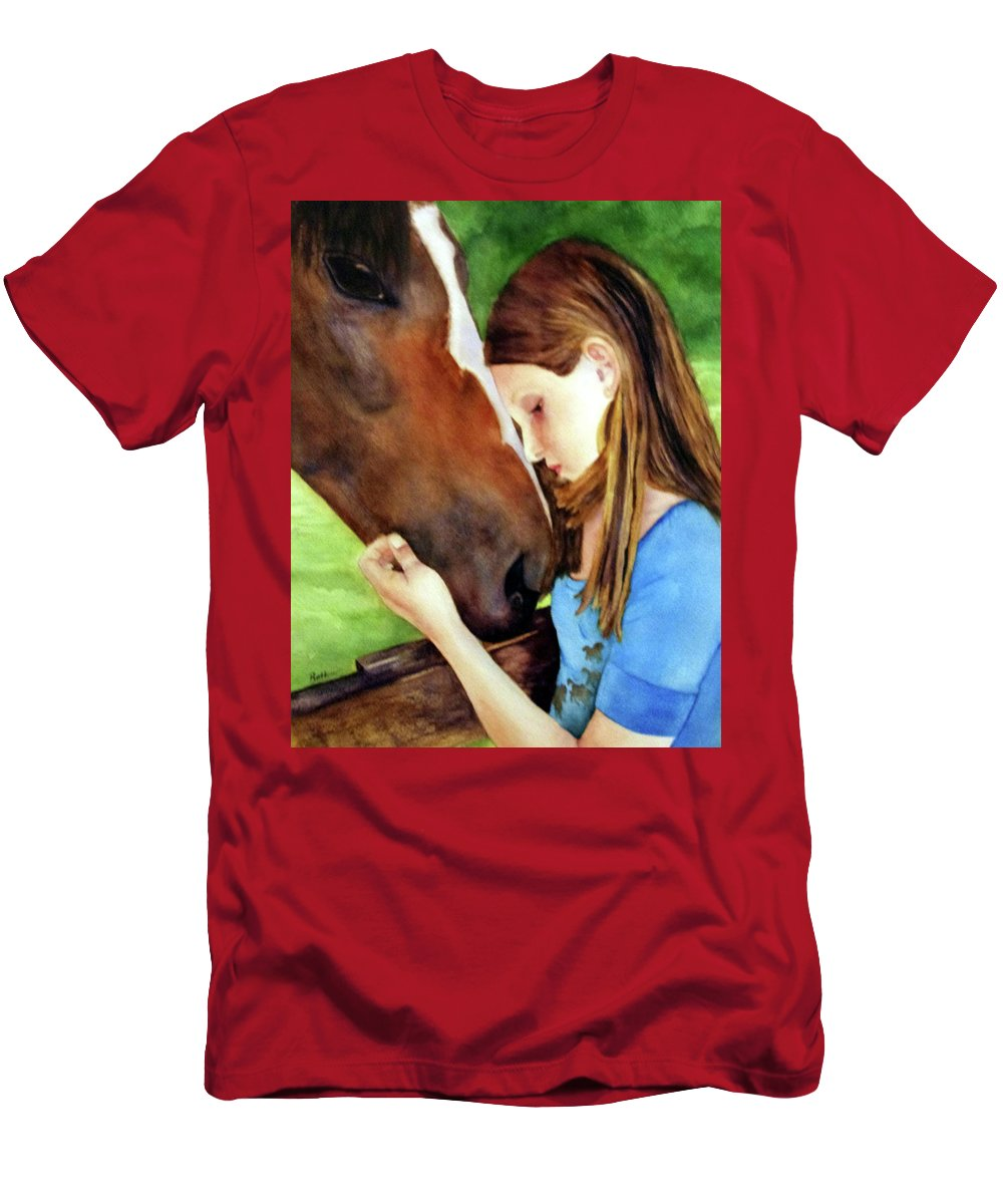 Horse Men's T-Shirt (Athletic Fit) featuring the painting First Love by Beth Fontenot
