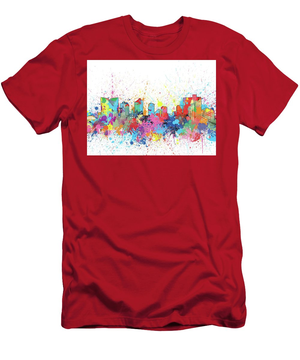 Fort Worth Men's T-Shirt (Athletic Fit) featuring the digital art Fort Worth Skyline Artistic by Bekim Art