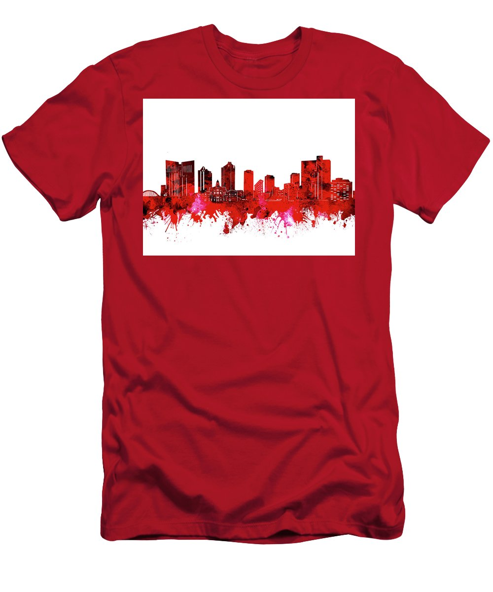 Fort Worth Men's T-Shirt (Athletic Fit) featuring the digital art Fort Worth Skyline Red by Bekim Art