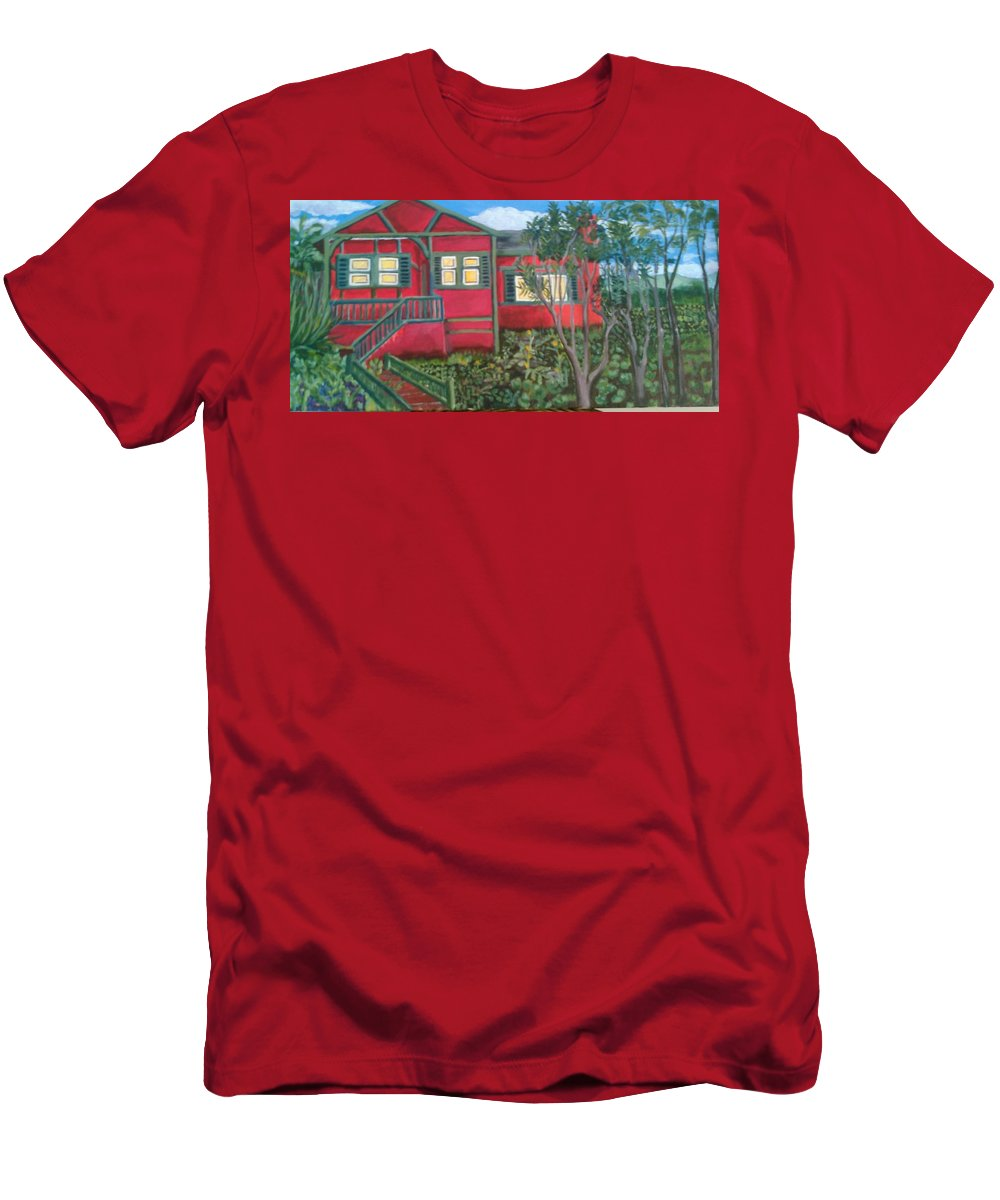 Painting Of House T-Shirt featuring the painting Fresh yard by Andrew Johnson