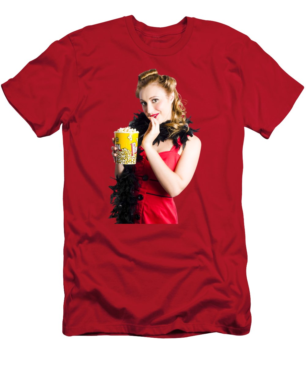Movies Men's T-Shirt (Athletic Fit) featuring the photograph Glamorous Woman Holding Popcorn by Jorgo Photography - Wall Art Gallery