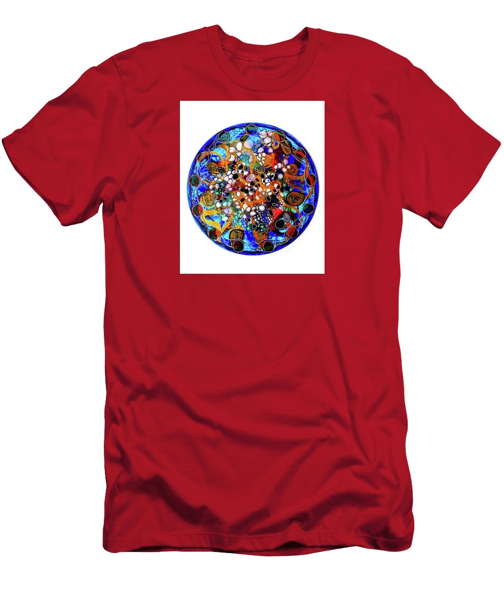 Energy Painting Men's T-Shirt (Athletic Fit) featuring the mixed media Go With The Flow 1 by Mimulux patricia No