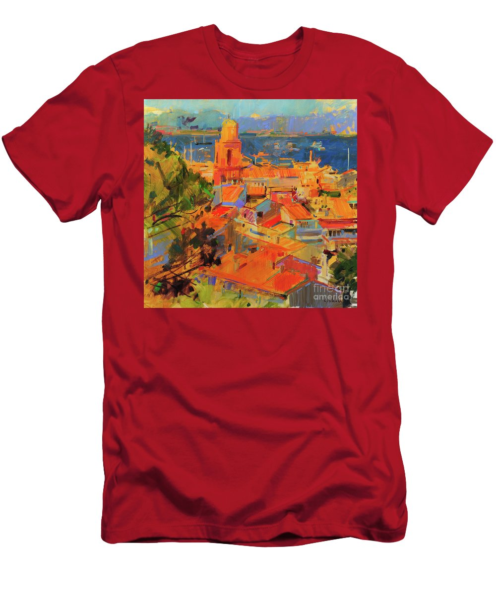 Golfe De Saint-tropez Men's T-Shirt (Athletic Fit) featuring the painting Golfe De Saint-tropez by Peter Graham
