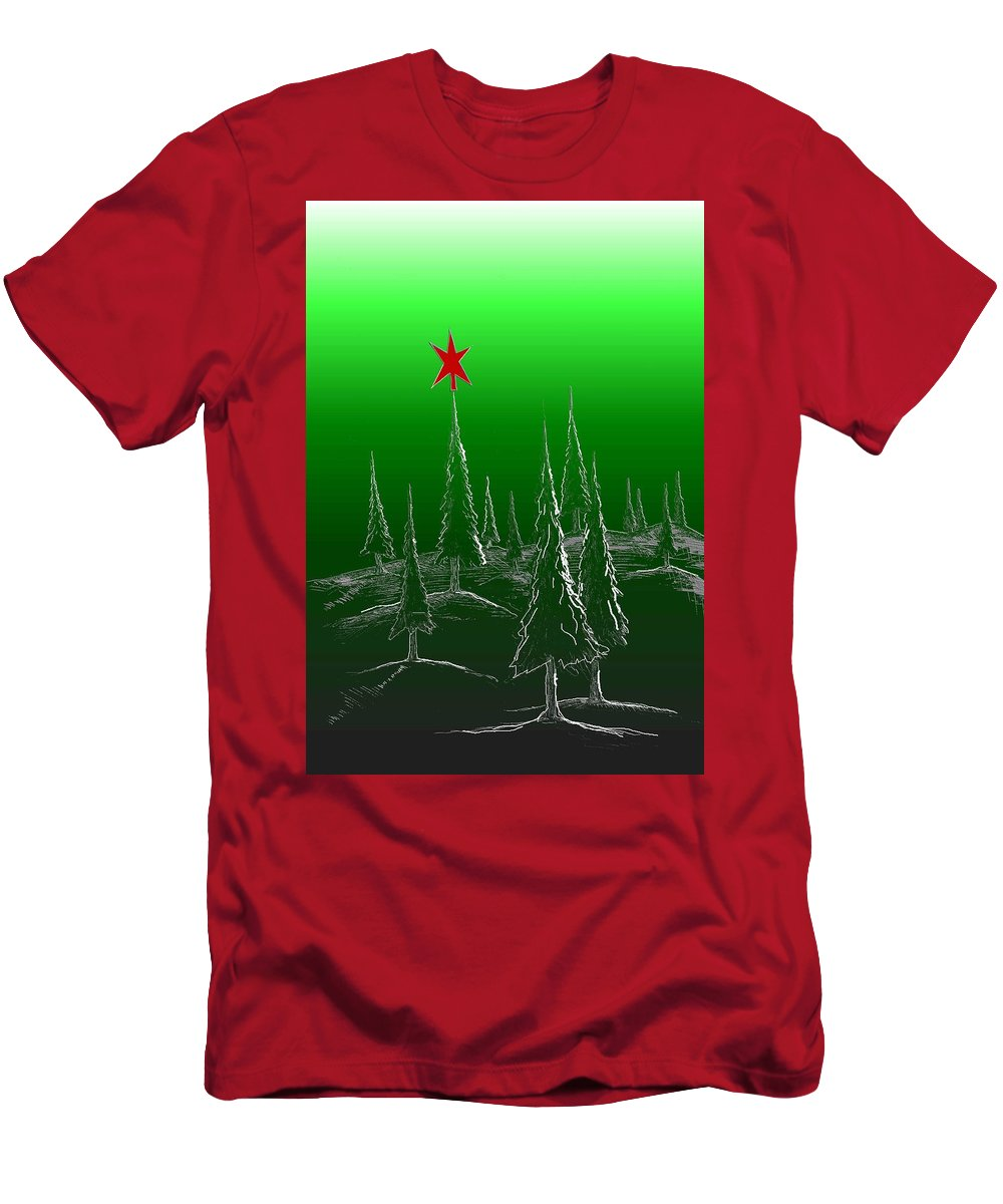 Christmas/holiday Design Men's T-Shirt (Athletic Fit) featuring the digital art Green Trees by Kris Haney Sirk Designs Ltd