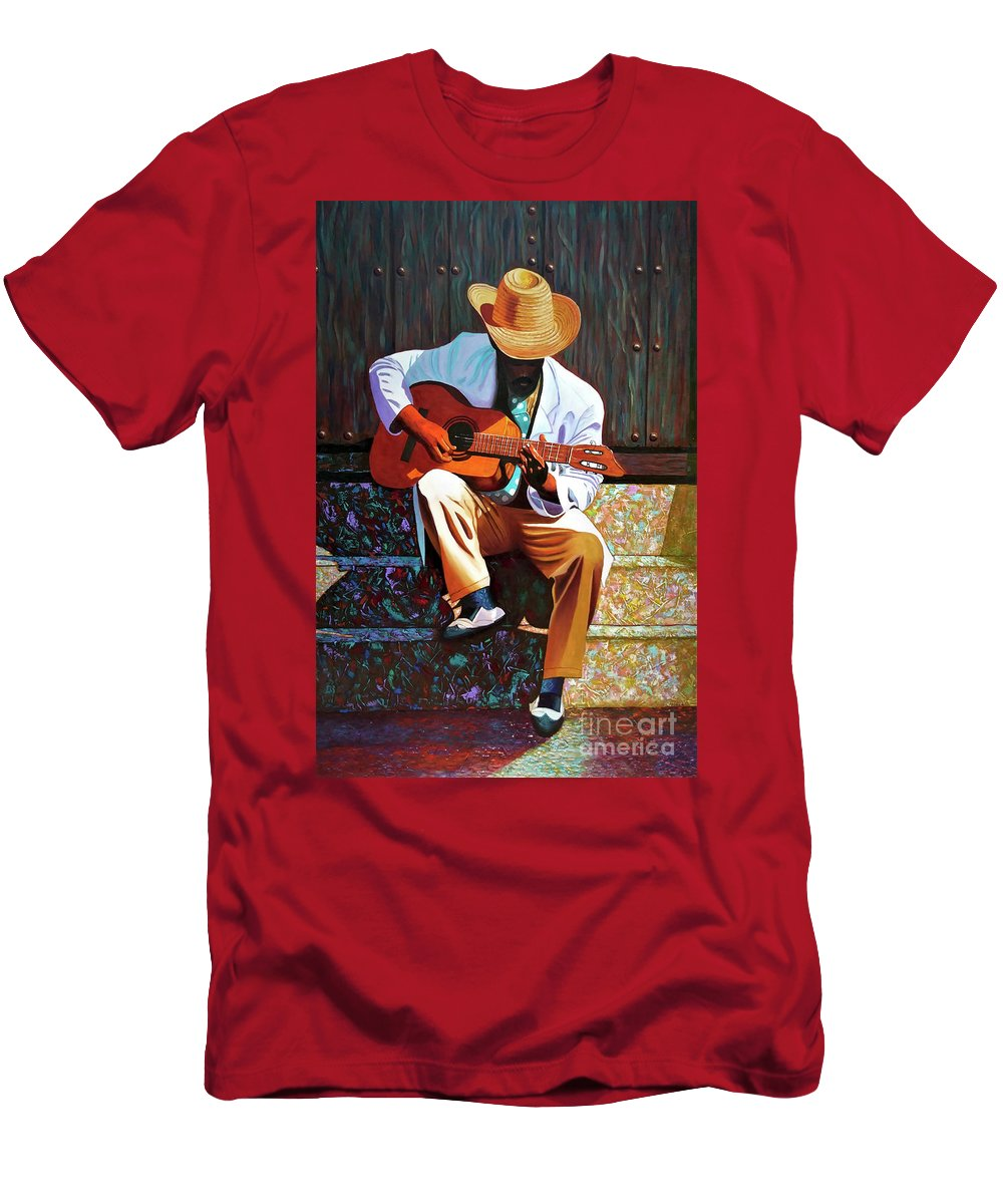 Cuban T-Shirt featuring the painting Guitar player #3 by Jose Manuel Abraham