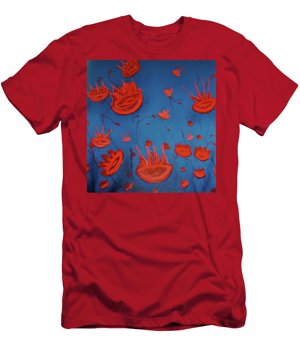 Modern Abstract T-Shirt featuring the painting Jelly fish by Joan Stratton