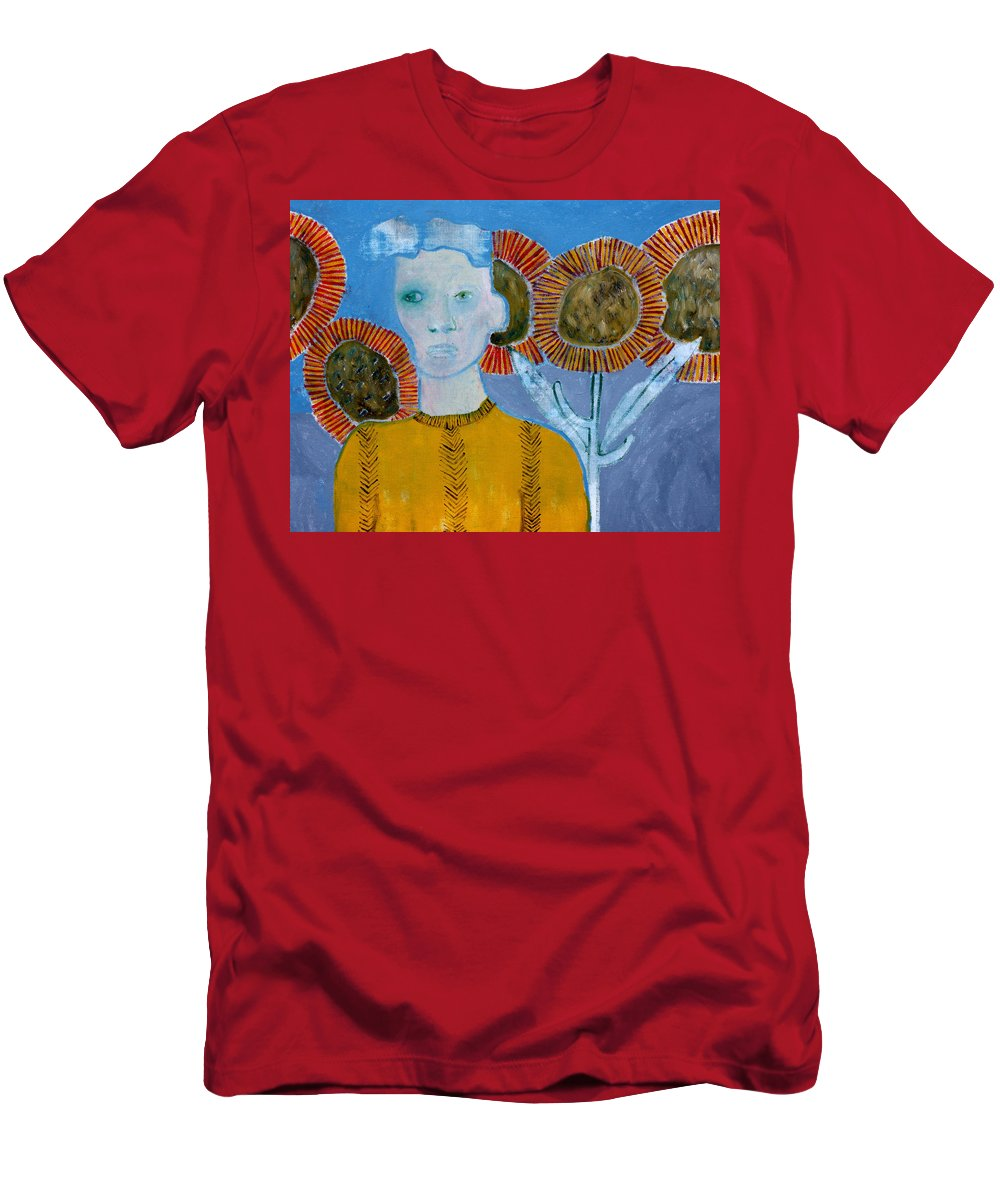 Man Men's T-Shirt (Athletic Fit) featuring the painting Man With Sunflowers by Artist Dot