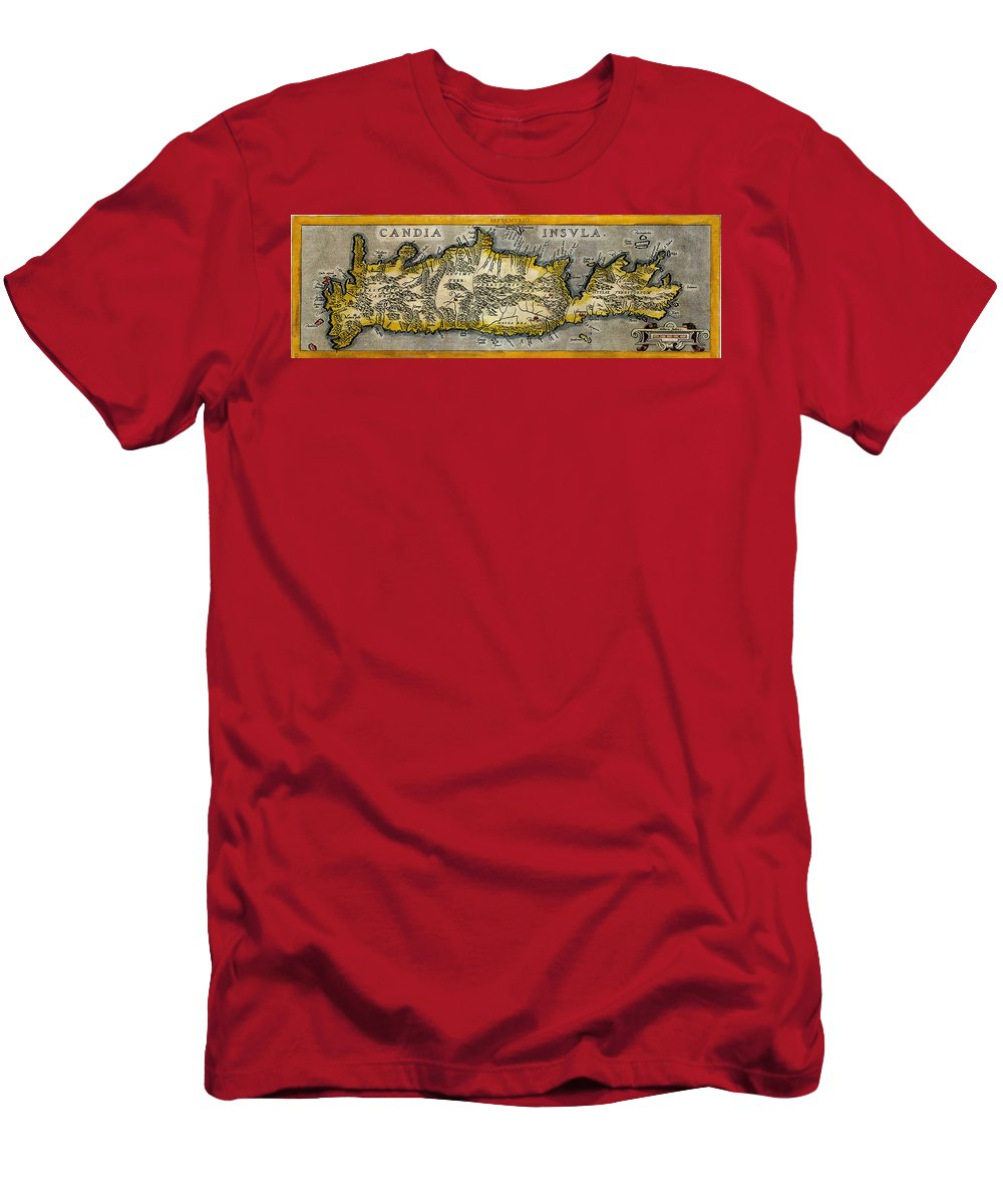 Map Of Crete Men's T-Shirt (Athletic Fit) featuring the photograph Map Of Crete 1584 by Andrew Fare
