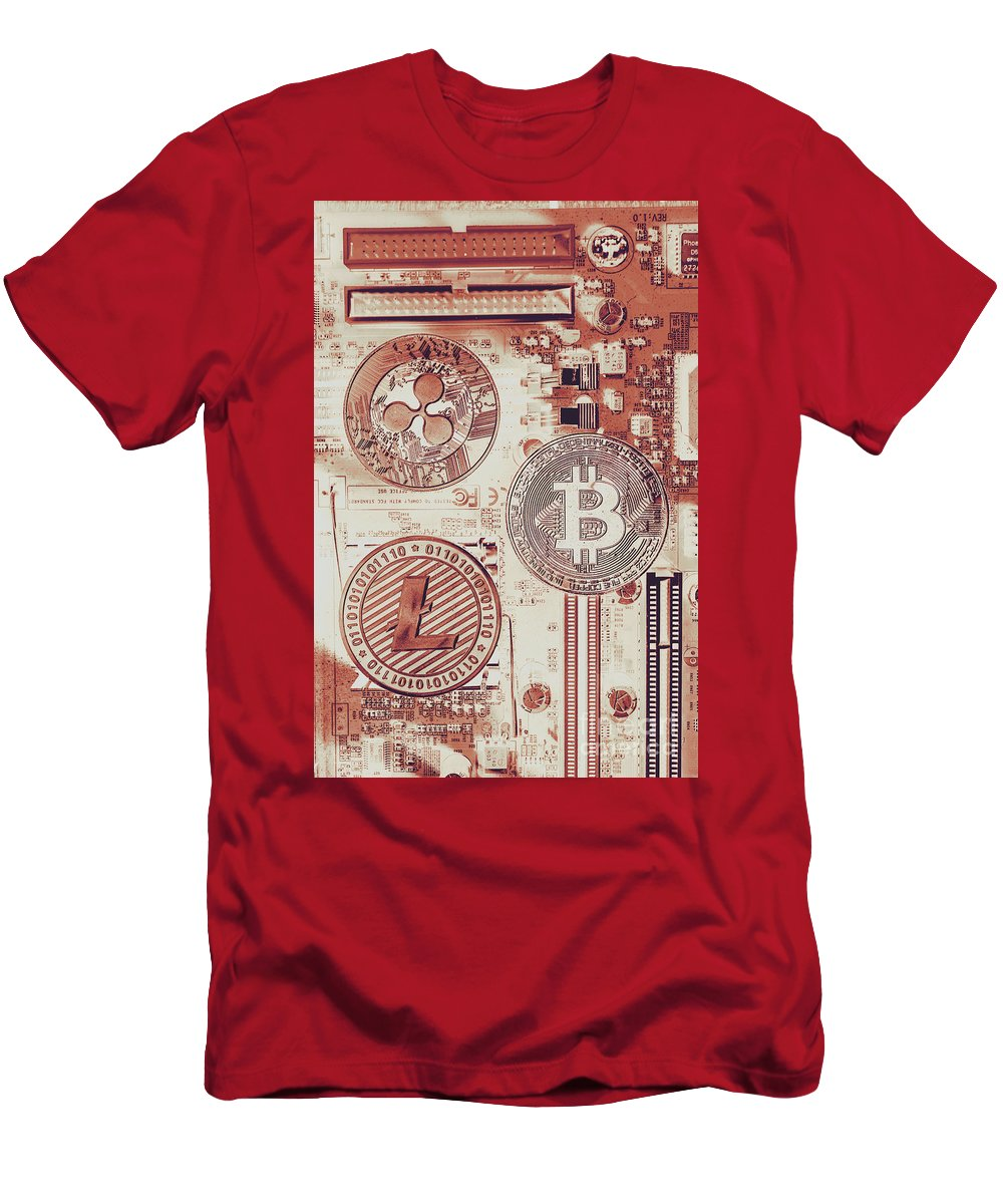 Technology Men's T-Shirt (Athletic Fit) featuring the photograph Motherboard Money by Jorgo Photography - Wall Art Gallery