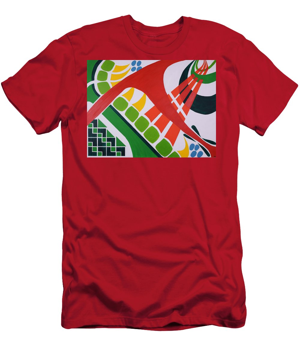 Abstract Men's T-Shirt (Athletic Fit) featuring the painting Ode To Oi by Elizabeth Beach
