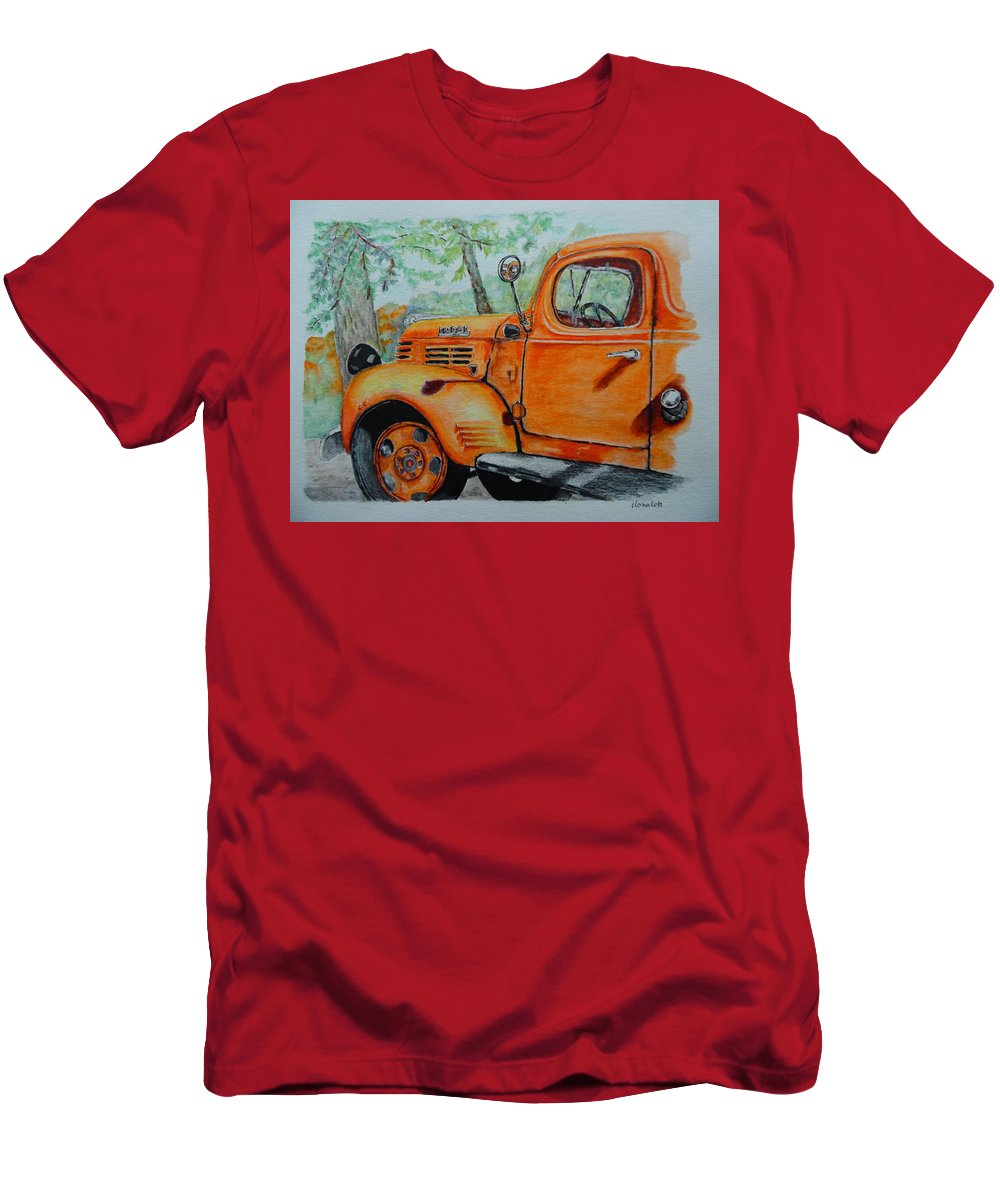 Watercolor Pencils Men's T-Shirt (Athletic Fit) featuring the drawing Old Dodge Truck At Patterson Farms by ILona Halderman