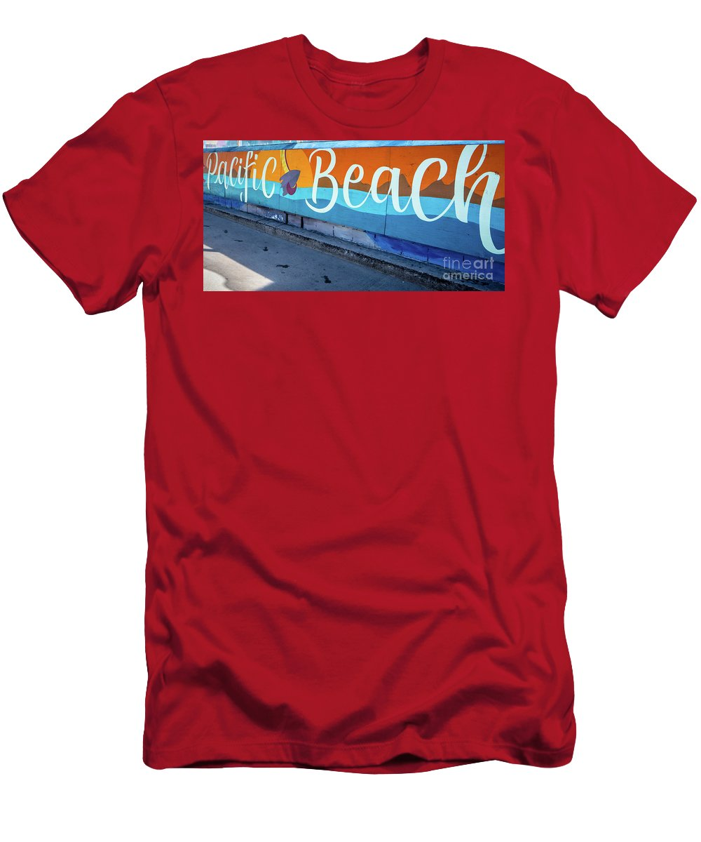 Pacific Beach Men's T-Shirt (Athletic Fit) featuring the photograph Pacific Beach Sign San Diego California by Edward Fielding