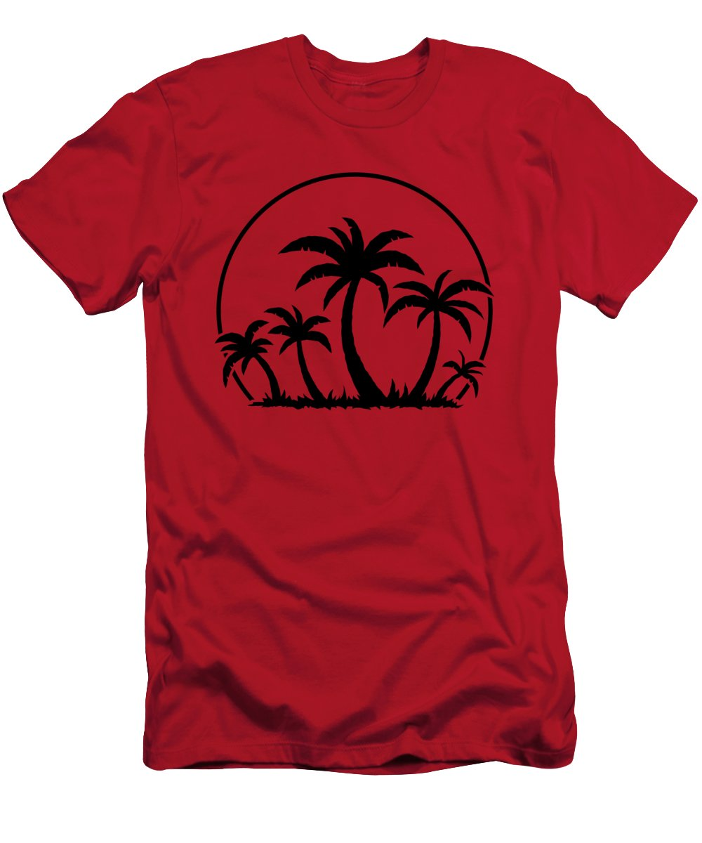 Beach T-Shirt featuring the digital art Palm Trees And Sunset in Black by John Schwegel